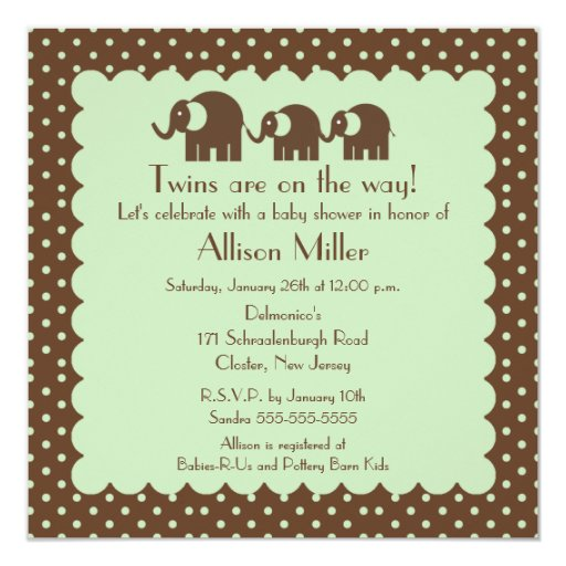 Mama & Twins Elephant Baby Shower Card