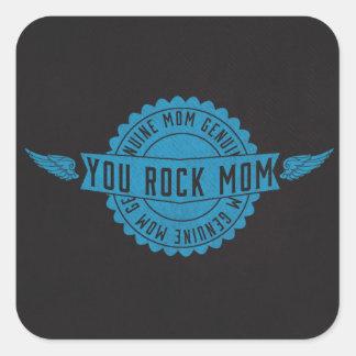 Mamá usted oscila las alas del emblema azules pegatina cuadrada