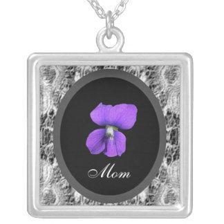 Mamá violeta púrpura colgante cuadrado