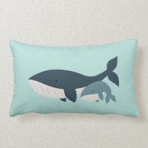 Mama Whale & Baby Lumbar Pillow   {Aqua & Blue}