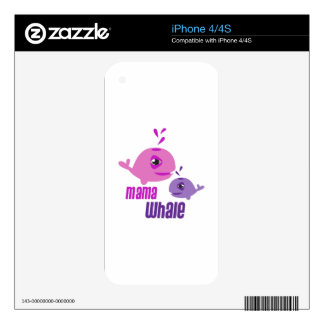 Mama Whale iPhone 4 Decals