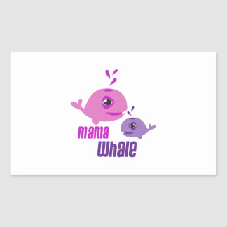 Mama Whale Rectangle Stickers