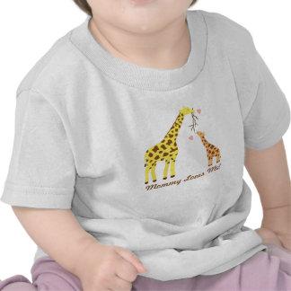 Mamá y bebé coloridos elegantes de la jirafa camisetas
