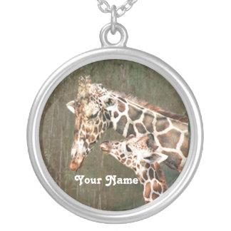 Mamá y bebé de la jirafa personalizados grimpolas personalizadas