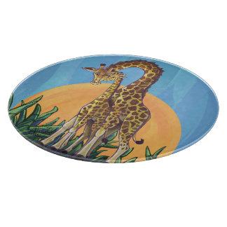 Mamá y bebé de la jirafa tablas para cortar