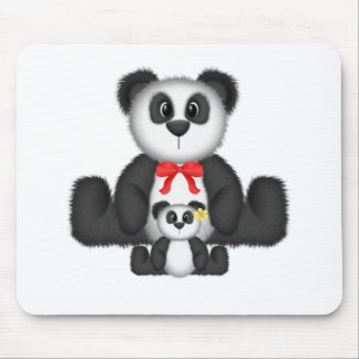 Mamá y bebé de la panda tapete de ratones