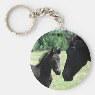 Mamá y bebé del amor del caballo llavero redondo tipo chapa