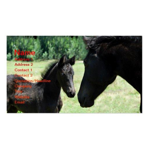Mamá y bebé del amor del caballo plantillas de tarjeta de negocio