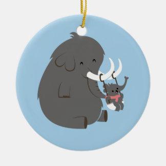 Mamá y bebé del elefante adorno de navidad