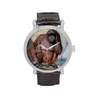 Mamá y bebé del orangután relojes de pulsera