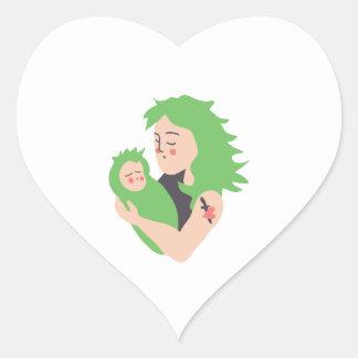 Mamá y bebé punkyes pegatina corazón personalizadas