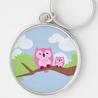 Mamá y bebé rosados lindos del búho llavero personalizado