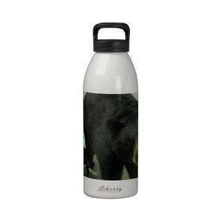 Mamá y cachorro del oso negro botellas de agua reutilizables