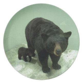 Mamá y cachorro del oso negro plato