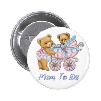 Mamá y carro - azul del oso de peluche pins