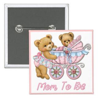 Mamá y carro - rosa del oso de peluche pin