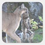 Mamá y Cubs del puma Calcomania Cuadrada Personalizada