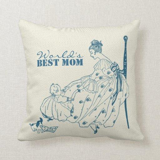 Mamá y niño - la mejor mamá Eve del vintage Cojin