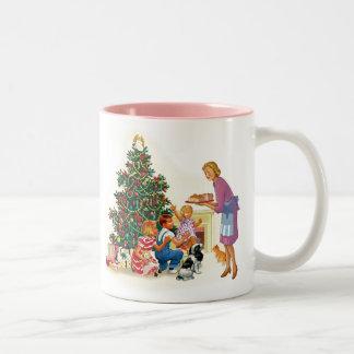 Mamá y niños de Navidad del vintage Taza Dos Tonos