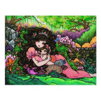 Mamá y nueva princesa Fantasy Art Postcard del beb Tarjetas Postales