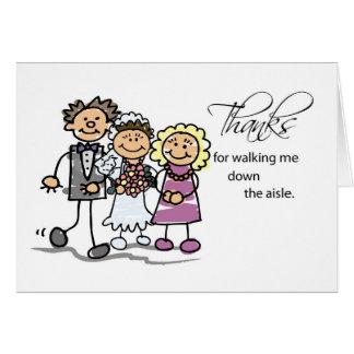 Mamá y papá, gracias por caminar abajo del pasillo tarjeta de felicitación
