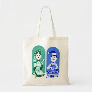 Mamá y papá retros del dibujo animado del anuncio  bolsa tela barata