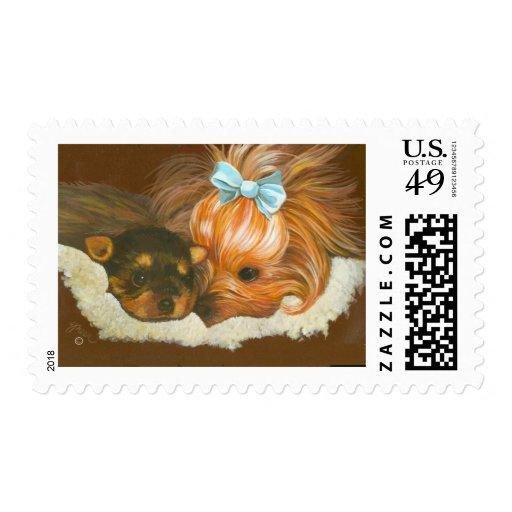 Mamá y perrito de Yorkshire Terrier Sellos