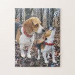 Mamá y perrito del beagle en maderas puzzle