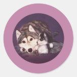 Mamá y perrito del husky siberiano pegatinas redondas