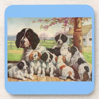 mamá y perritos del perro de aguas de saltador posavasos de bebidas