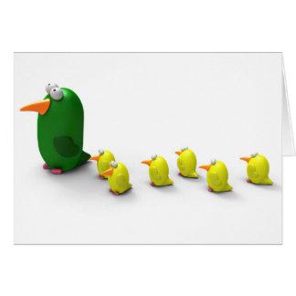 Mamá y polluelos del loro felicitacion