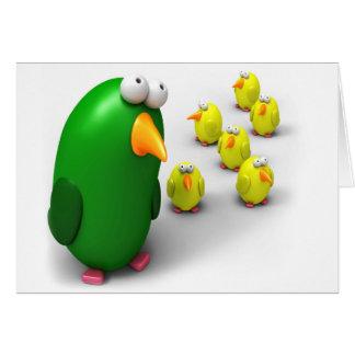 Mamá y polluelos del pájaro tarjetas