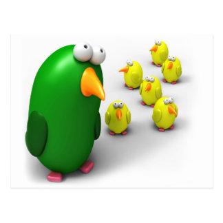 Mamá y polluelos del pájaro postal