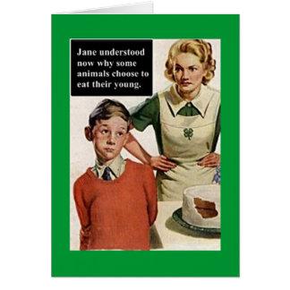 Mamá y torta enojadas de la imagen del vintage tarjeta de felicitación