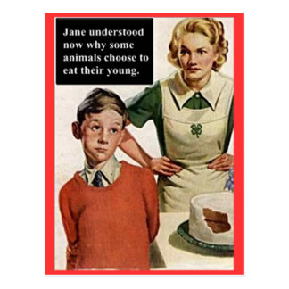 Mamá y torta enojadas de la imagen del vintage postal
