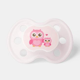 Mamá y yo, búho lindo del bebé, rosado chupetes para bebes