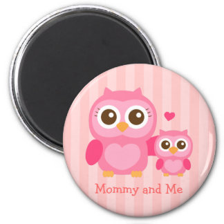 Mamá y yo, búho lindo del bebé, rosado imán redondo 5 cm