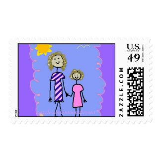 Mamá y yo, paseo de la hija de la madre sello postal