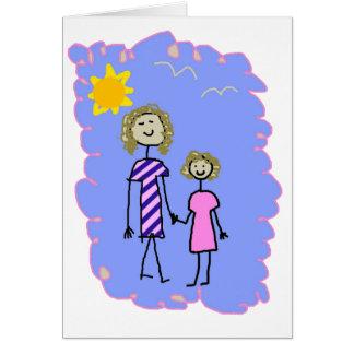 Mamá y yo, paseo de la hija de la madre tarjeta de felicitación