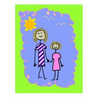 Mamá y yo, paseo de la hija de la madre tarjetas postales