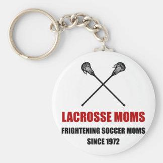 Mamáes espantosas del fútbol de LaCrosse Llavero Redondo Tipo Pin