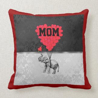 Mamáes rojas románticas del corazón y del elefante cojines