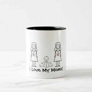 Mamáes y bebé del personalizable LGBT 2 Taza Dos Tonos