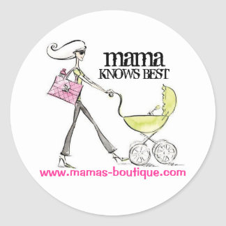 mamalogo, mama, KNOWS BEST, www.ma... - Customized Classic Round Sticker