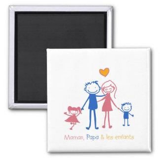 Maman, dad & les enfants 2 inch square magnet