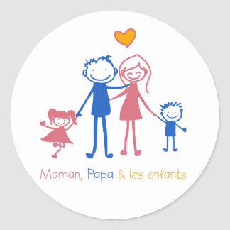 Maman, dad & les enfants classic round sticker