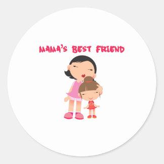 Mamas Best Friend Classic Round Sticker
