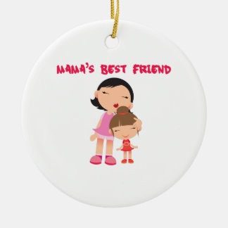 Mamas Best Friend Double-Sided Ceramic Round Christmas Ornament