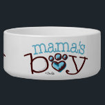 "Mama&#39;s Boy Blue Paw Print Heart Bowl<br><div class=""desc"">Original mama&#39;s boy paw print heart design by Andie of Off-Leash Art. Personalize this Tee with a dog&#39;s name and treat your favorite pooch or give as a one-of-a-kind gift to a fellow dog owner.</div>"