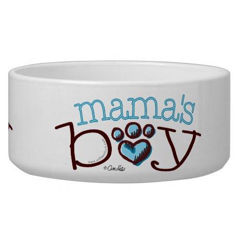 Mama's Boy Blue Paw Print Heart Bowl